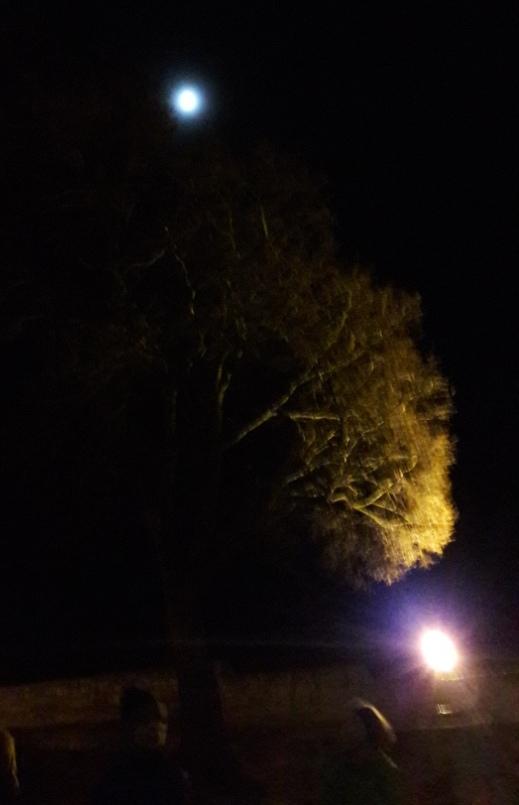 Der Mond ist aufgegangen: Angekommen auf der Neuenburg ist es schon lange dunkel.