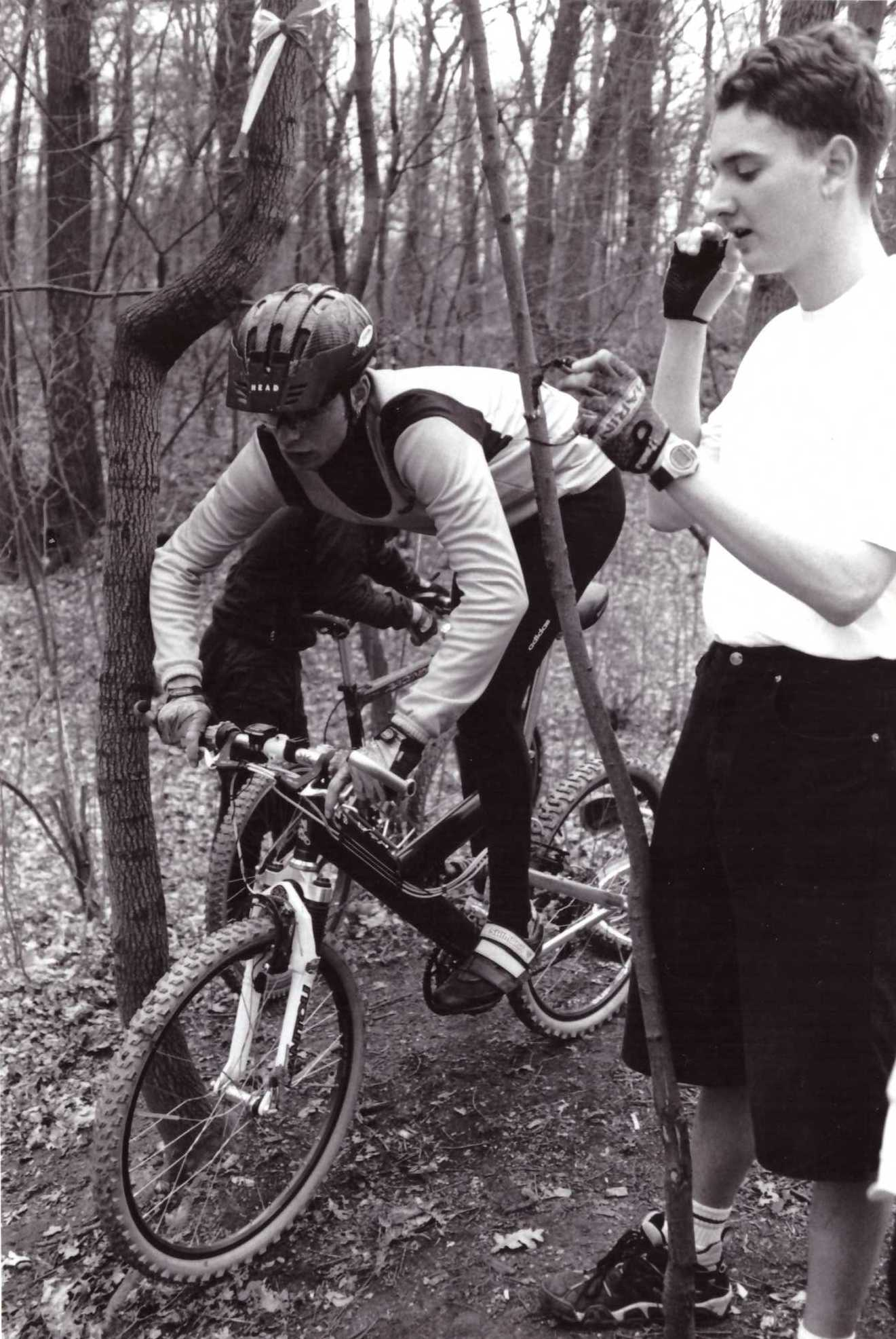 """Das erste """"Training"""" 1996- Christian Puck auf Gary Fisher Joshua1 mit Antriebsschwinge"""
